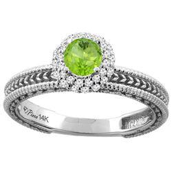 0.67 CTW Peridot & Diamond Ring 14K White Gold - REF-53M3K