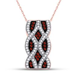 Round Red Color Enhanced Diamond Fashion Pendant 1/4 Cttw 10kt Rose Gold