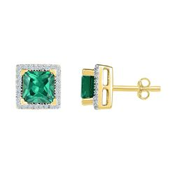 Lab-Created Emerald Solitaire Stud Earrings 1-3/4 Cttw 10kt Yellow Gold