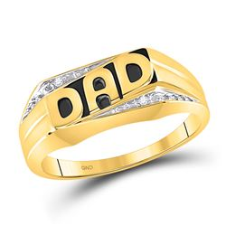 Mens Diamond Dad Father Ring .01 Cttw 10kt Yellow Gold
