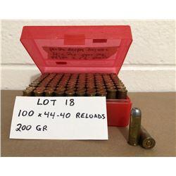 AMMO: 100 X .44-40 RELOADS 200 GR