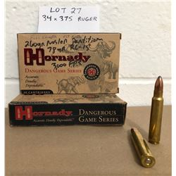 AMMO: 34 X .375 RUGER (POSSIBLY 14 X RELOADS)