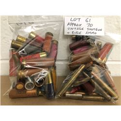 AMMO:  APPROX 70 X MIXED VINTAGE SHOTGUN & RIFLE ROUNDS