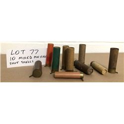 AMMO: 10 X ASSORTED PIN FIRE SHOT SHELLS