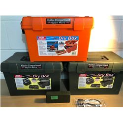 GR OF 5, CABLE LOCK - NEW, 3 X DRY BOXES, SM AMMO BOX.