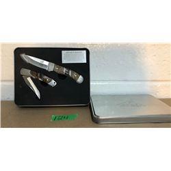 GERBER KNIFE SET W / TIN CASE