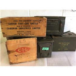 3 X METAL AMMO BOXES & 2 X CIL WOOD CRATES