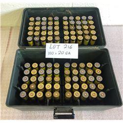 AMMO: 100 X 20 GA W / AMMO BOX - ? RELOADS