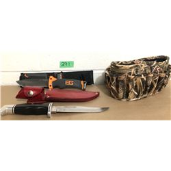 GERBER HUNTING KNIFE, BUCK HUNTING KNIFE & CAMO AMMO POUCH