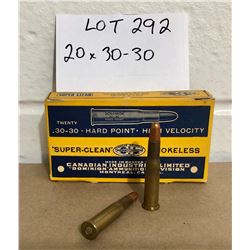 AMMO: 20 X .30 - 30 IN VINTAGE CIL BOX