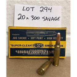 AMMO: 20 X .300 SAVAGE IN VINTAGE CIL BOX