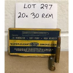 AMMO:  20 X .30 REM IN VINTAGE CIL BOX