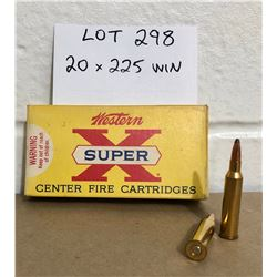 AMMO:  20 X .225 WIN IN VINTAGE WESTERN SUPER X BOX