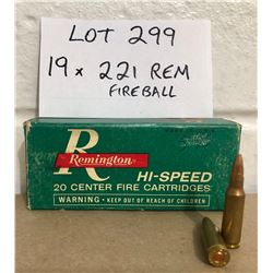 AMMO: 19 X .221 REM FIREBALL IN VINTAGE REMINGTON BOX