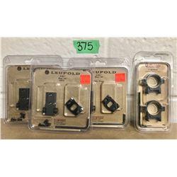 GR OF 4, 3 X LEUPOLD BASES FOR REM 700 & SET OF BURRIS SCOPE RINGS