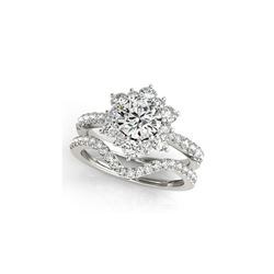 2.41 ctw Certified VS/SI Diamond 2pc Wedding Set Halo 14K White Gold