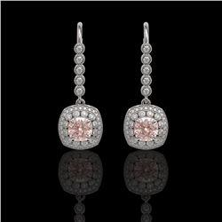 4.3 ctw Certified Morganite & Diamond Victorian Earrings 14K White Gold