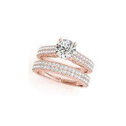 1.76 ctw Certified VS/SI Diamond Pave 2pc Set Ring Wedding 14K Rose Gold