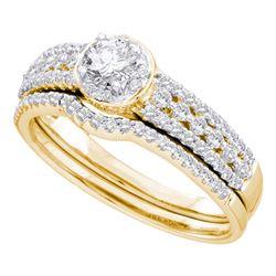 14kt Yellow Gold Round Diamond Bridal Wedding Engagement Ring Band Set 3/4 Cttw