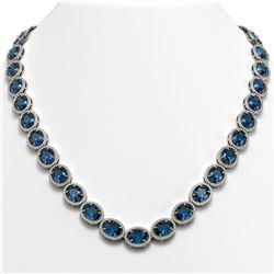 68.17 ctw London Topaz & Diamond Micro Pave Halo Necklace 10K White Gold