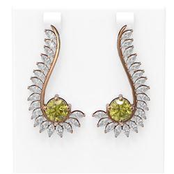 7.1 ctw Fancy Yellow Diamond Earrings 18K Rose Gold