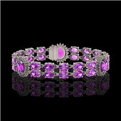 15.62 ctw Amethyst & Diamond Bracelet 14K White Gold