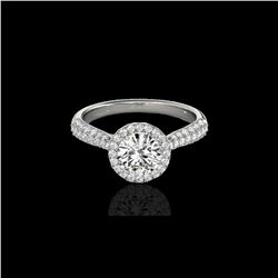 1.40 ctw Certified Diamond Solitaire Halo Ring 10K White Gold