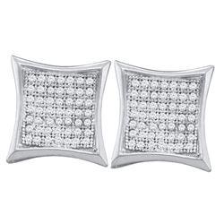10kt White Gold Round Diamond Kite Cluster Earrings 1/3 Cttw