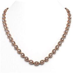 20.34 ctw Pear Cut Diamond Micro Pave Necklace 18K Rose Gold