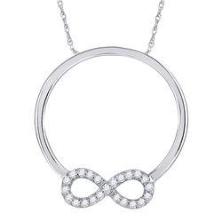 10kt White Gold Round Diamond Circle Infinity Pendant 1/8 Cttw