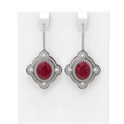9.96 ctw Ruby & Diamond Earrings 18K White Gold