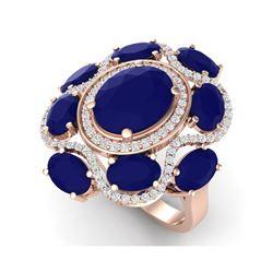 9.86 ctw Designer Sapphire & VS Diamond Ring 18K Rose Gold