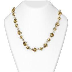 61.25 ctw Canary Citrine & Diamond Necklace 18K Yellow Gold