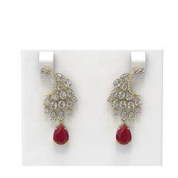 15.97 ctw Ruby & Diamond Earrings 18K Yellow Gold