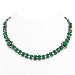 72.85 ctw Emerald & Diamond Necklace 14K White Gold
