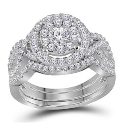 14kt White Gold Round Diamond Halo Bridal Wedding Engagement Ring Band Set 1-1/4 Cttw
