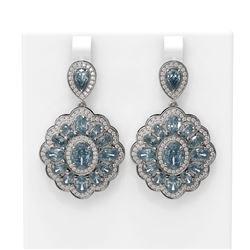 14.54 ctw Blue Topaz & Diamond Earrings 18K White Gold