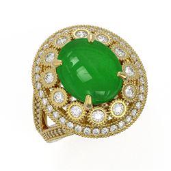 5.66 ctw Jade & Diamond Victorian Ring 14K Yellow Gold