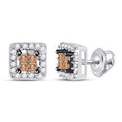 14k White Gold Brown Princess Diamond Stud Square Screwback Earrings 1/3 Cttw