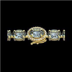 36 ctw Sky Blue Topaz & VS/SI Diamond Micro Bracelet 14K Yellow Gold