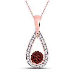 10kt Rose Gold Round Red Color Enhanced Diamond Teardrop Cluster Pendant 1/6 Cttw