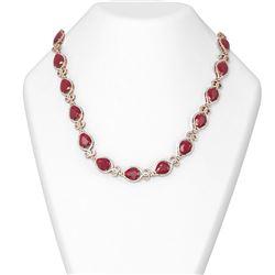 76.53 ctw Ruby & Diamond Necklace 18K Rose Gold