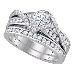 14kt White Gold Princess Diamond Bridal Wedding Engagement Ring Band Set 1-1/4 Cttw