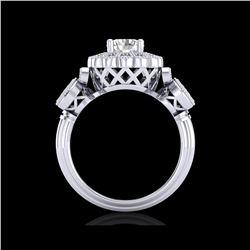 1.5 ctw VS/SI Diamond Solitaire Art Deco 3 Stone Ring 18K White Gold