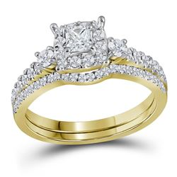 14k Yellow Gold Princess Diamond Bridal Wedding Engagement Ring Band Set 7/8 Cttw