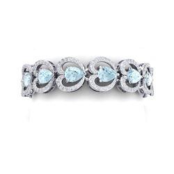 33.43 ctw Sky Topaz & VS Diamond Bracelet 18K White Gold