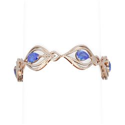16.09 ctw Tanzanite & Diamond Bracelet 18K Rose Gold