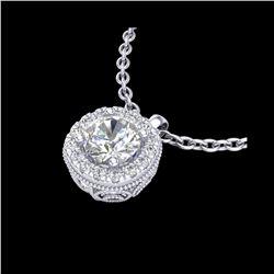 1.1 ctw VS/SI Diamond Solitaire Art Deco Stud Necklace 18K White Gold