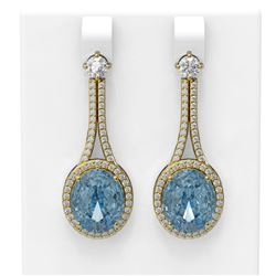 11.83 ctw Blue Topaz & Diamond Earrings 18K Yellow Gold