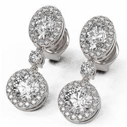 3 ctw Oval Cut Diamond Designer Earrings 18K White Gold